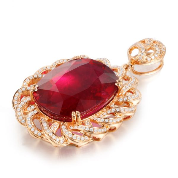31.71ct Natural Red Tourmaline in 18K Gold Pendant