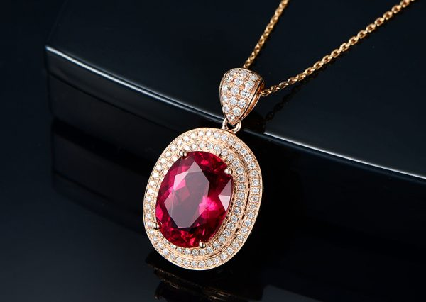 7.2ct Natural Red Tourmaline in 18K Gold Pendant