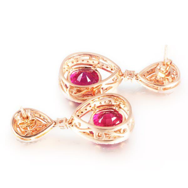 4.76ct Natural Red Tourmaline in 18K Gold Earring
