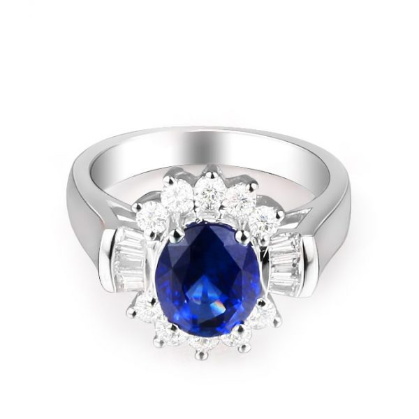 2.07ct Natural Blue Sapphire in 18K Gold Ring