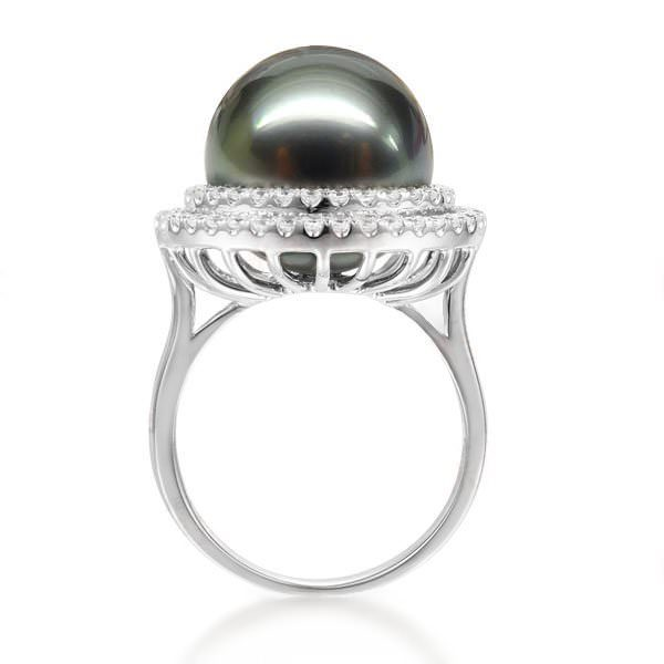 13.5 mm Natural Black Pearl in 18K Gold Ring
