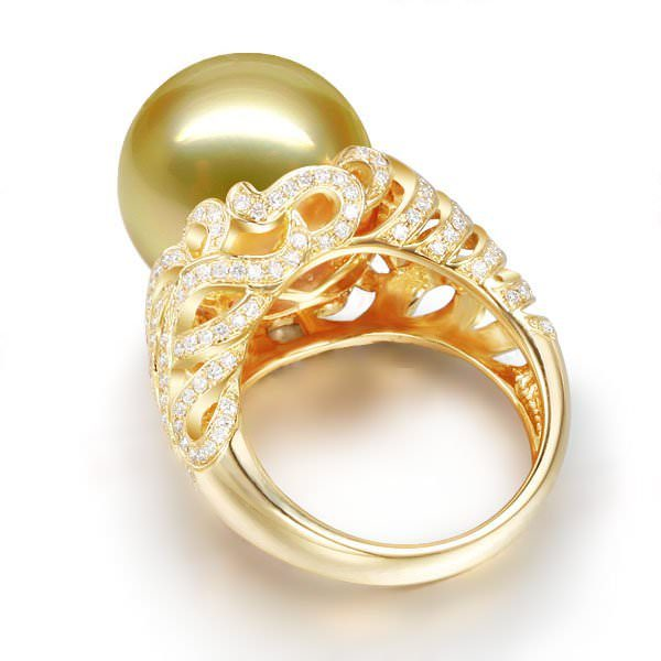 12.6 mm Natural Yellow Pearl in 18K Gold Ring