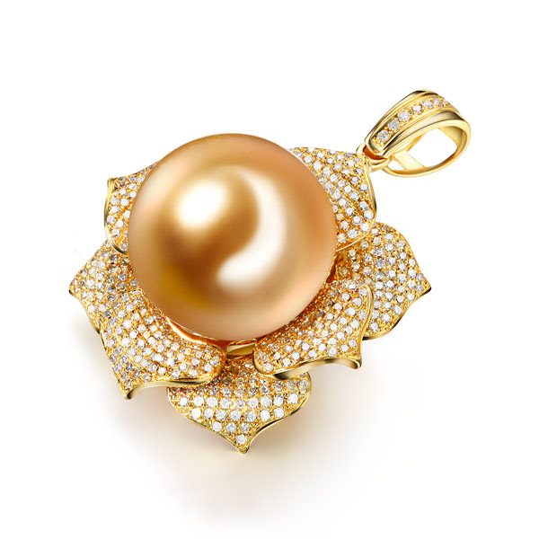 15.1 mm Natural White Pearl in 18K Gold Pendant