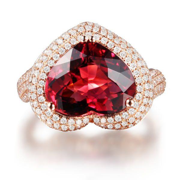 5.57ct Natural Pink Tourmaline in 18K Gold Ring