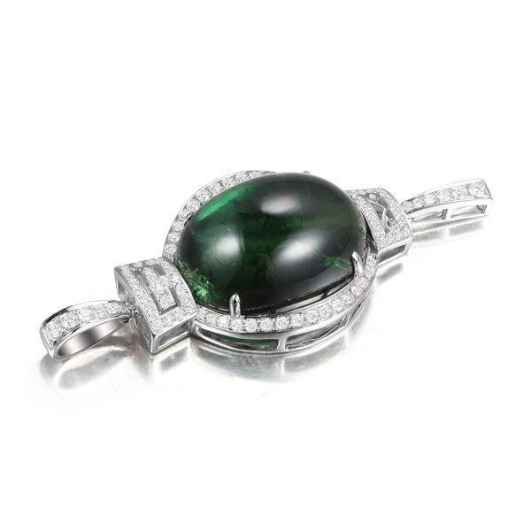 16.55ct Natural Green Tourmaline in 18K Gold Pendant