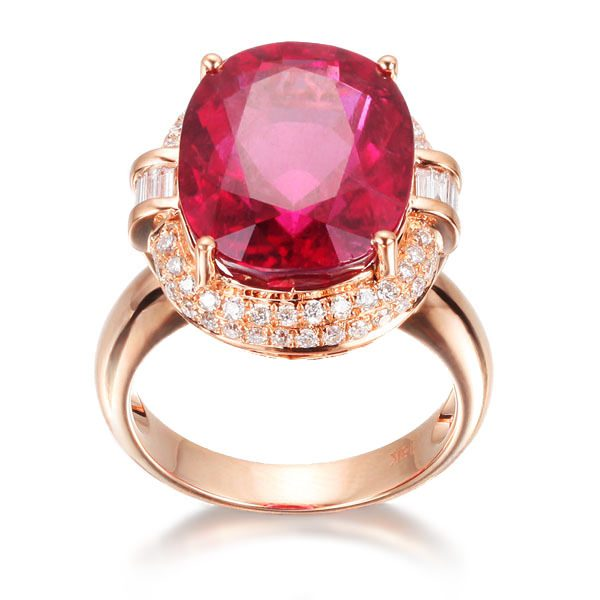 12.76ct Natural Red Tourmaline in 18K Gold Ring