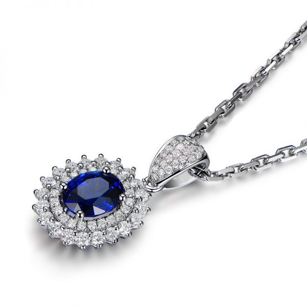 1.5ct Natural Blue Sapphire in 18K Gold Pendant