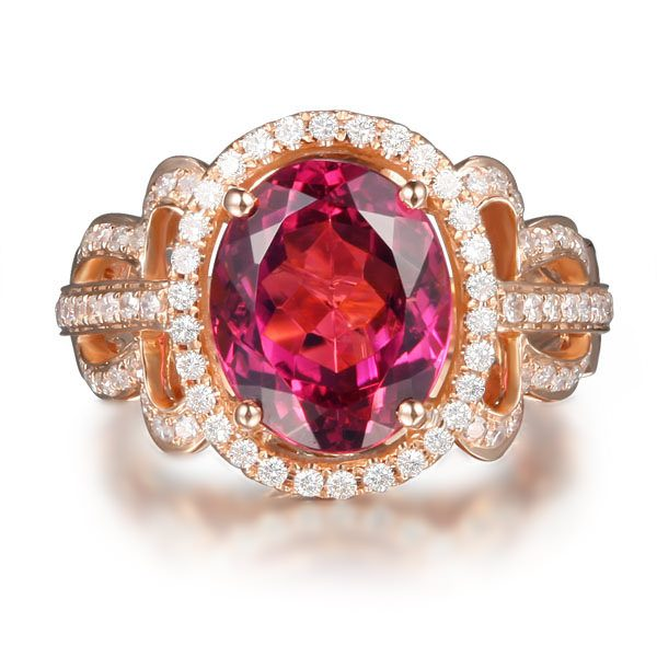 4.27ct Natural Pink Tourmaline in 18K Gold Ring