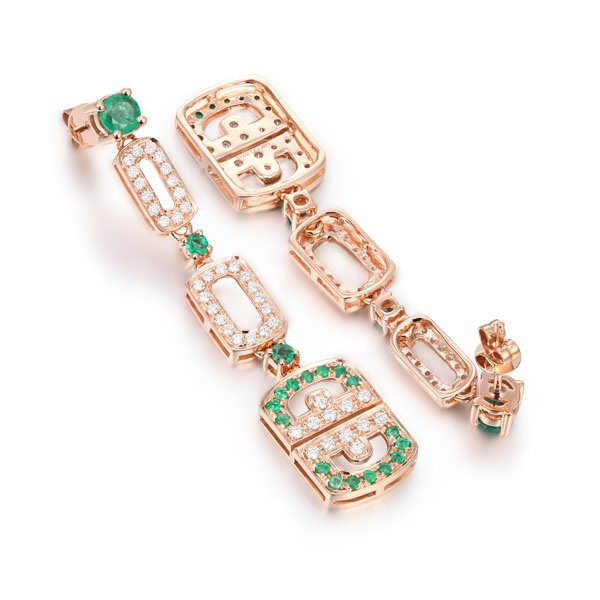 1.85ct Natural Green Emerald in 14K Gold Earring