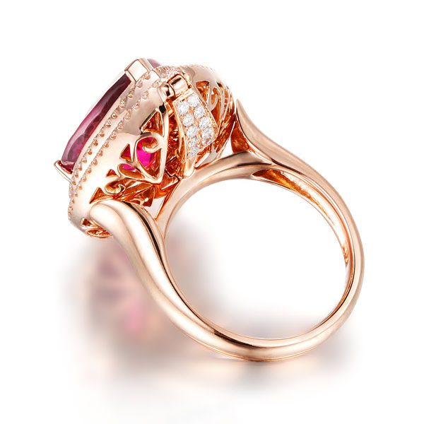 11.79ct Natural Red Tourmaline in 18K Gold Ring