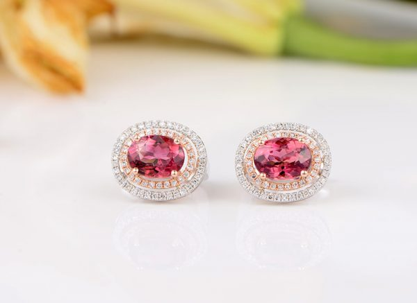 3.11ct Natural Pink Tourmaline in 18K Gold Earring