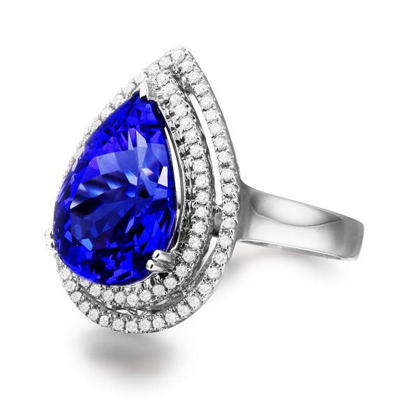 6.13ct Natural Blue Tanzanite in 18K Gold Ring