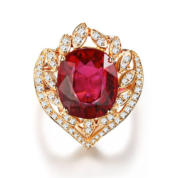 7.85ct Natural Red Tourmaline in 18K Gold Ring