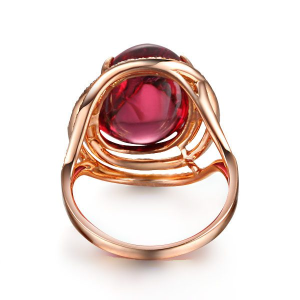 16.61ct Natural Red Tourmaline in 18K Gold Ring