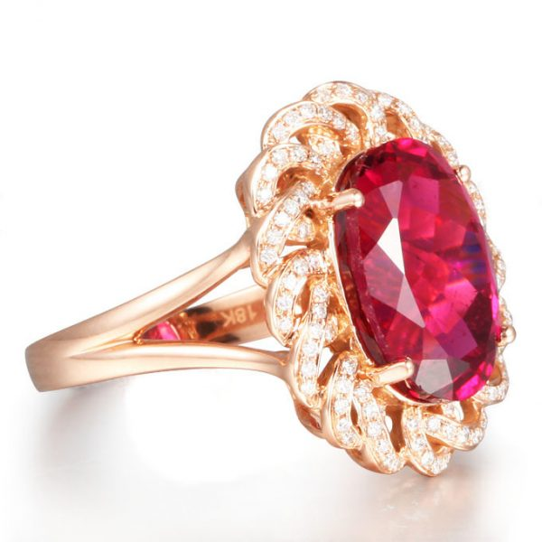 6.75ct Natural Red Tourmaline in 18K Gold Ring