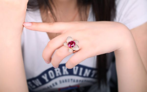 7.86ct Natural Red Tourmaline in 18K Gold Ring