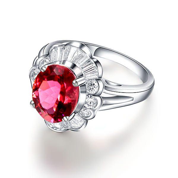 3.56ct Natural Pink Tourmaline in 18K Gold Ring