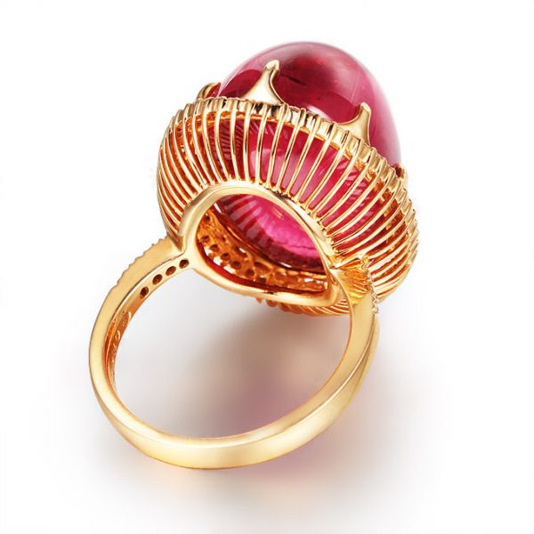 32.16ct Natural Red Tourmaline in 18K Gold Ring