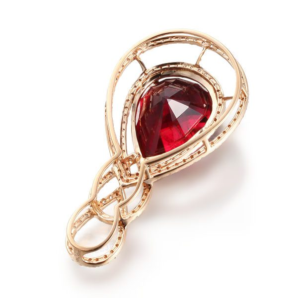 14.29ct Natural Red Tourmaline in 18K Gold Pendant