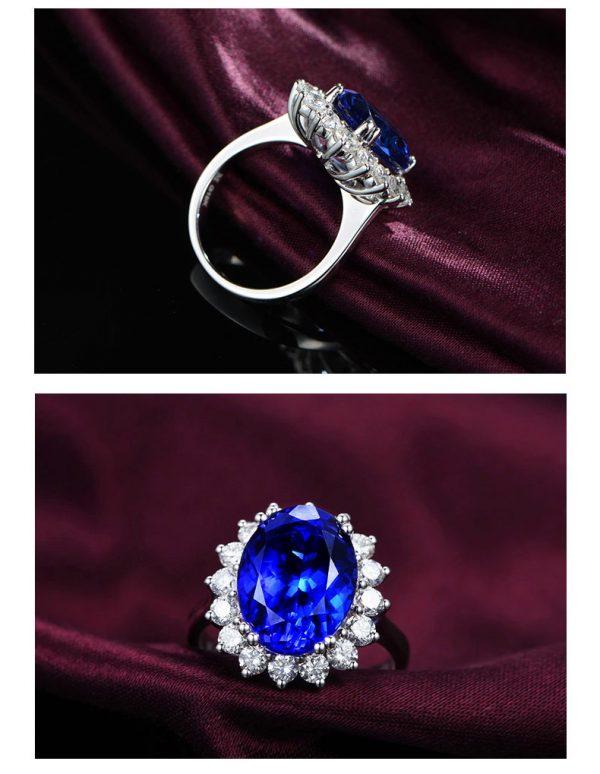 6.75ct Natural Blue Tanzanite in 18K Gold Ring