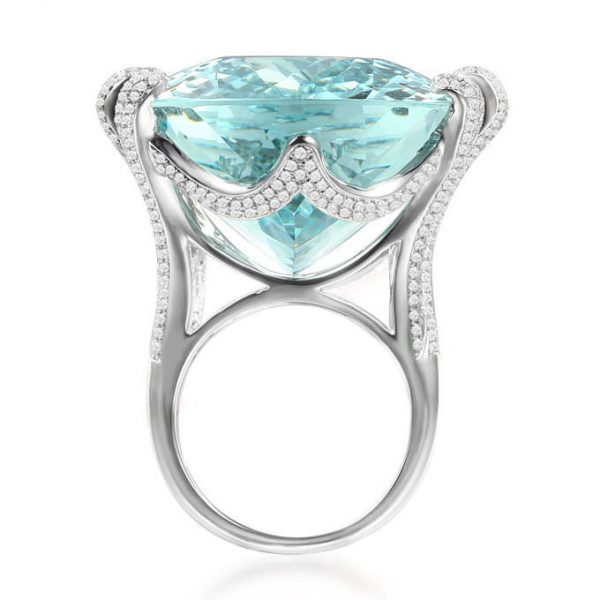 85.47ct Natural Blue Aquamarine in 18K Gold Ring
