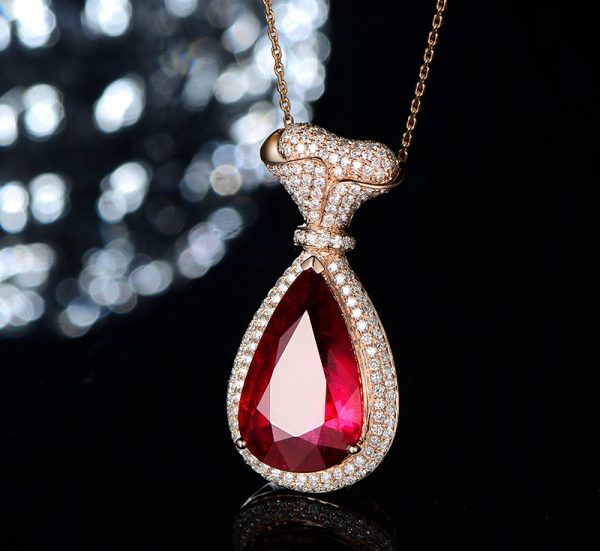 11.59ct Natural Red Tourmaline in 18K Gold Pendant