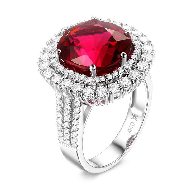 7.63ct Natural Red Tourmaline in 18K Gold Ring