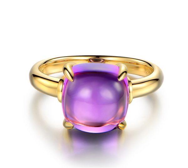 6.57ct Natural Purple Amethyst in 18K Gold Ring