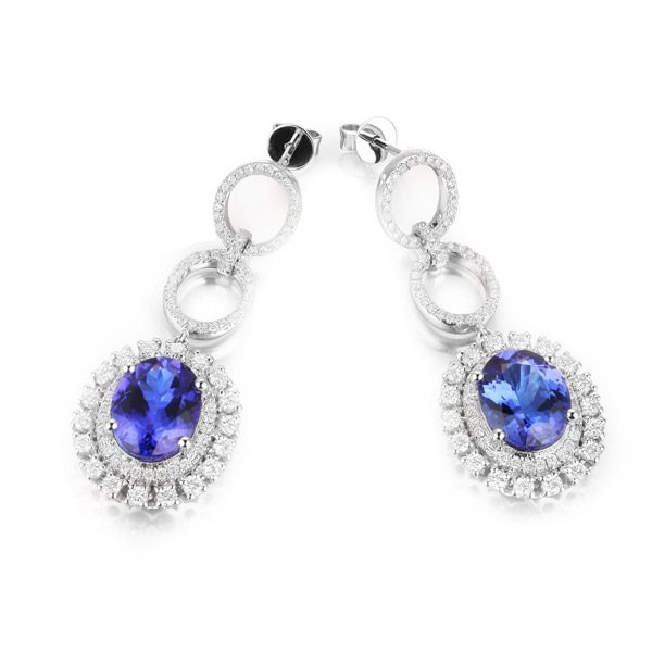 6.33ct Natural Blue Tanzanite in 18K Gold Earring
