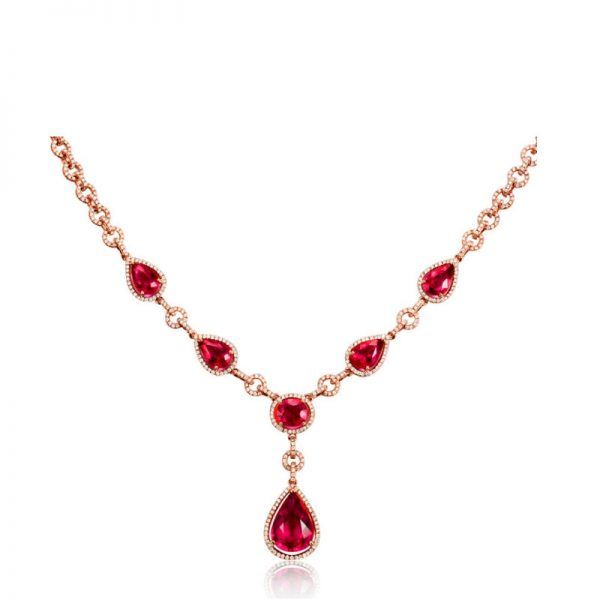 38.55ct Natural Red Tourmaline in 18K Gold Necklace