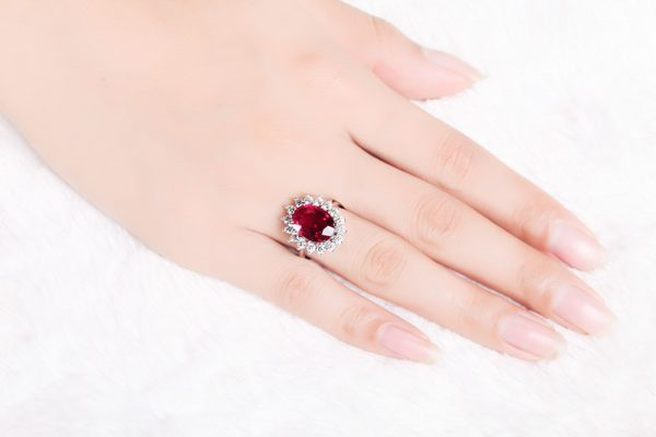 4.23ct Natural Red Tourmaline in 18K Gold Ring