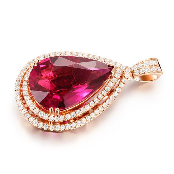 8.73ct Natural Red Tourmaline in 18K Gold Pendant