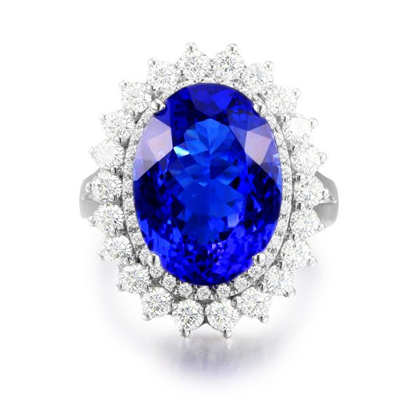 7.69ct Natural Blue Tanzanite in 18K Gold Ring