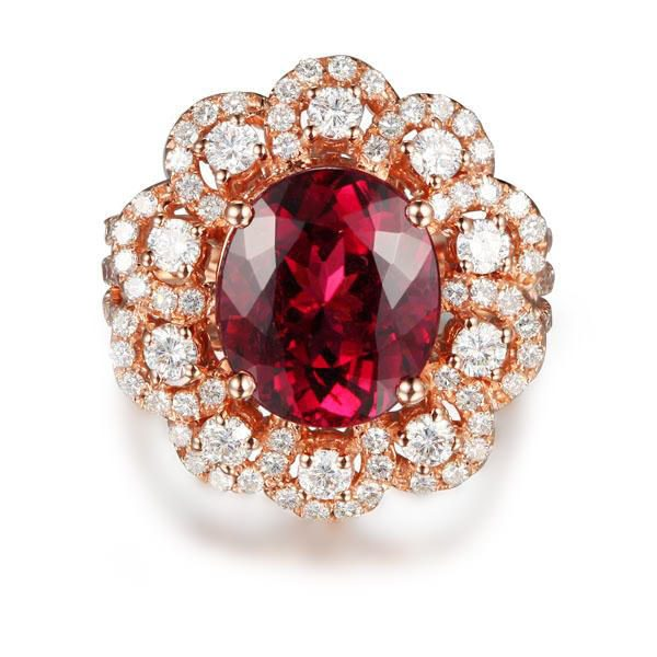 4.9ct Natural Pink Tourmaline in 18K Gold Ring