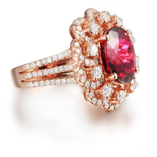 4.9ct Natural Pink Tourmaline in 18K Gold Ring
