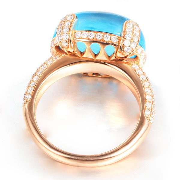 14.26ct Natural Blue Topaz in 18K Gold Ring