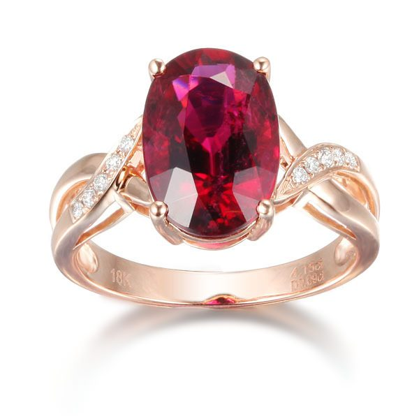 3.17ct Natural Red Tourmaline in 18K Gold Ring