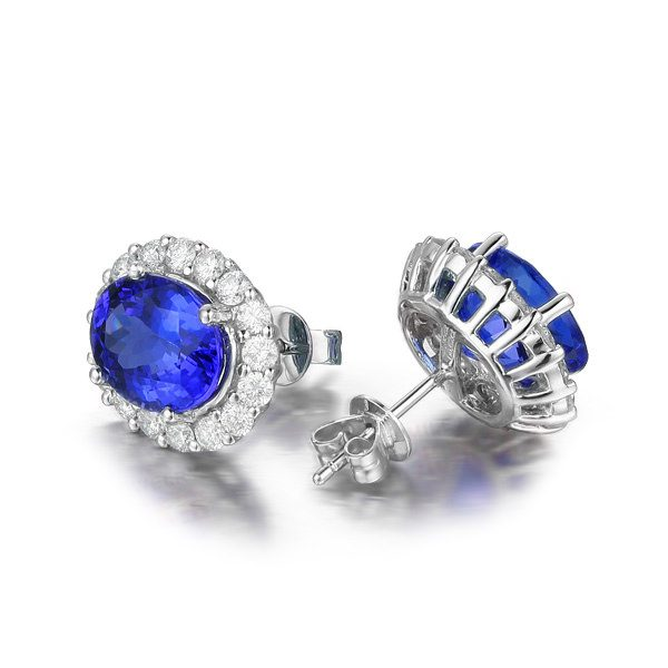 2.85ct Natural Blue Tanzanite in 18K Gold Earring