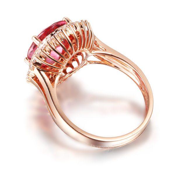 4.35ct Natural Pink Tourmaline in 18K Gold Ring