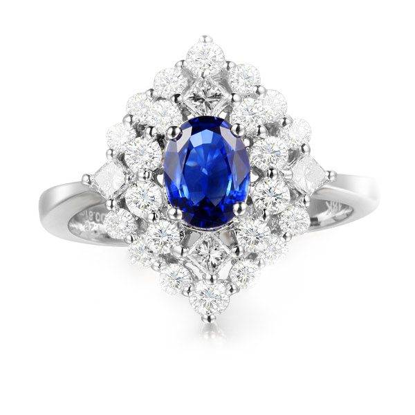 1.71ct Natural Blue Sapphire in 18K Gold Ring