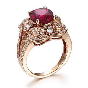 3.07ct Natural Red Tourmaline in 18K Gold Ring