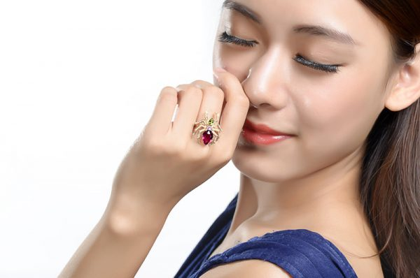 2.84ct Natural Red Tourmaline in 18K Gold Ring