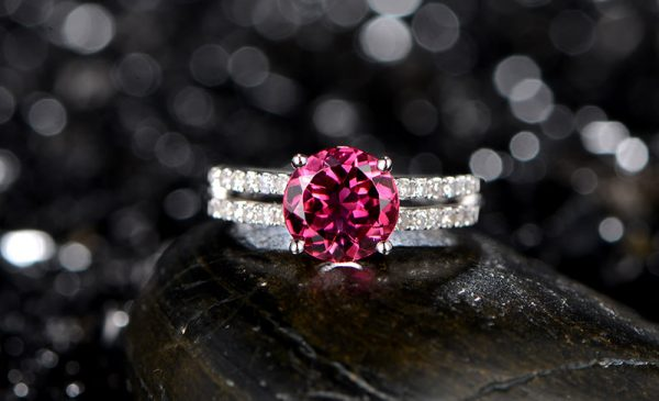 1.15ct Natural Red Tourmaline in 18K Gold Ring
