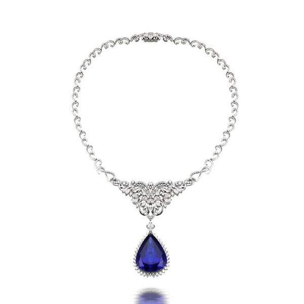 70.35ct Natural Blue Tanzanite in 18K Gold Necklace