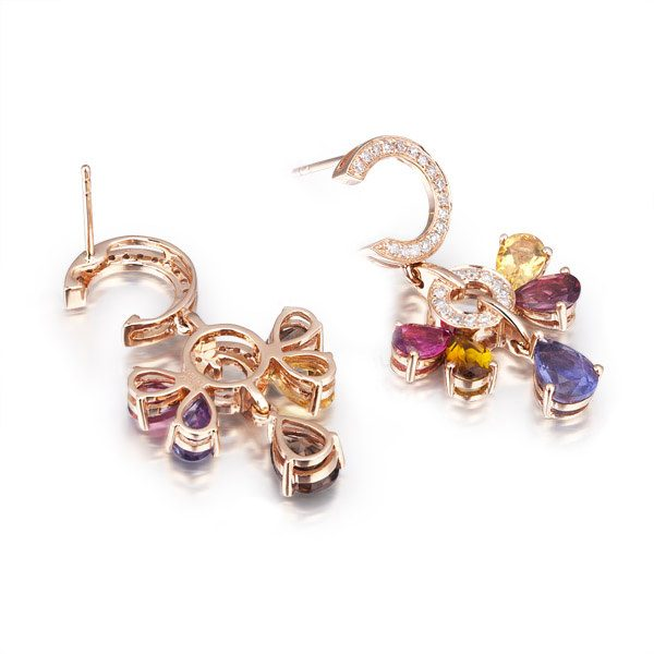 0.39ct Natural Pink Colored Stones in 18K Gold Earring