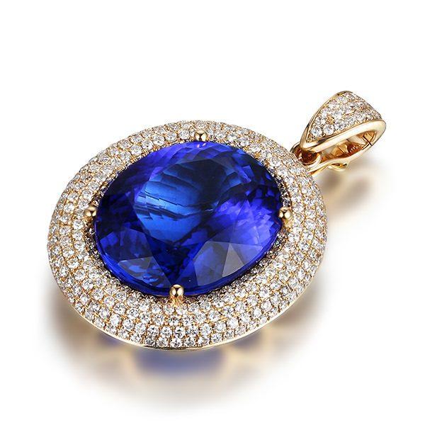 20.11ct Natural Blue Tanzanite in 18K Gold Pendant