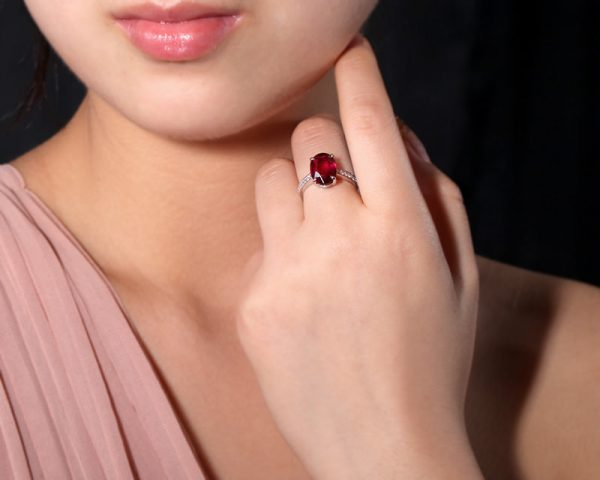 3.81ct Natural Red Tourmaline in 18K Gold Ring