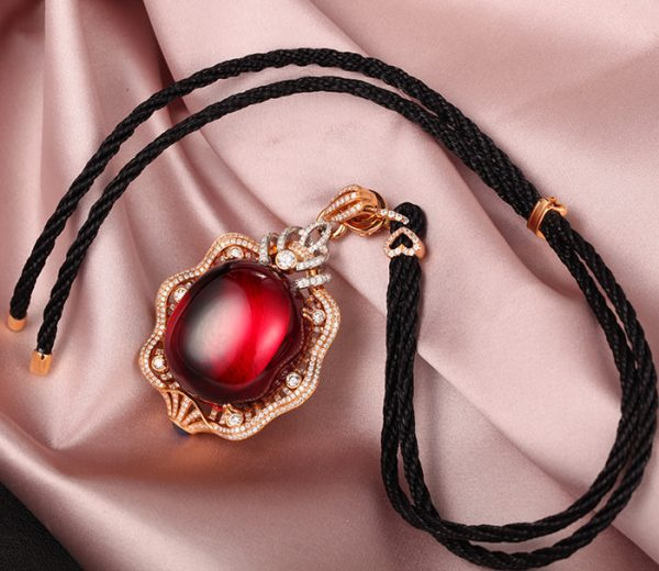 100.12ct Natural Red Tourmaline in 18K Gold Pendant
