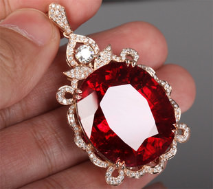 102.65ct Natural Red Tourmaline in 18K Gold Pendant