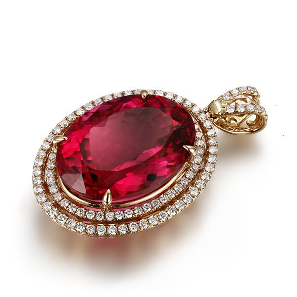 8.95ct Natural Red Tourmaline in 18K Gold Pendant